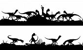 stock photo of dilophosaurus  - Two consecutive editable vector silhouettes of Dilophosaurus dinosaurs feeding on prey with dinosaurs as separate objects - JPG