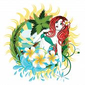 image of beauty pageant  - Beautiful island girl in green bikini with red hair and plumeria flower - JPG