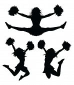 image of pom-pom  - Illustration of a cheerleader jumping and cheering - JPG