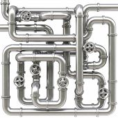 image of maze  - maze of metal pipes - JPG