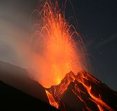stock photo of magma  - Volcano Stromboli  Eolian islands - JPG
