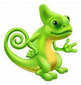 stock photo of chameleon  - Illustration of a cartoon chameleon lizard character standing and showing something with their hand - JPG