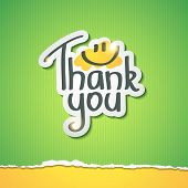 stock photo of cut torn paper  - Thank You inscription on paper sticker - JPG