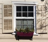 stock photo of stockade  - Old colonial window in the Stockade section of historic Schenectady New York - JPG