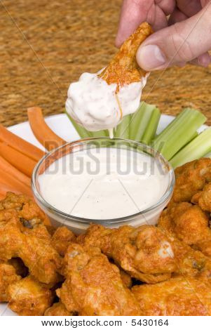 Chicken Hot Wings And Dipping Sauce