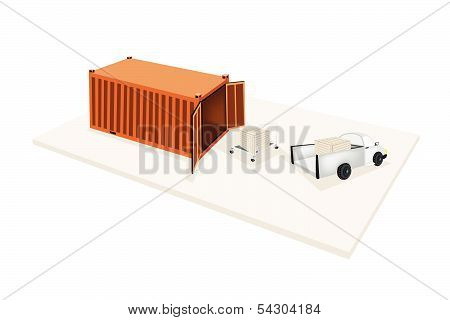 Hand Truck Loading Shipping Box Into Container