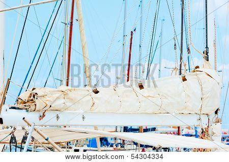 Folded Sail Boats Close-up