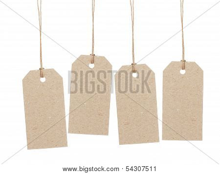 Set Of Four Empty Tag On Waxed Cord With Space For Writing Something