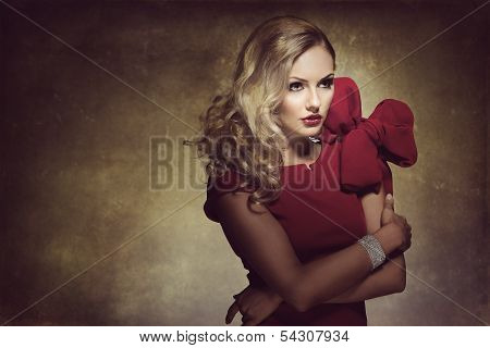 Woman In Red With Big Bow