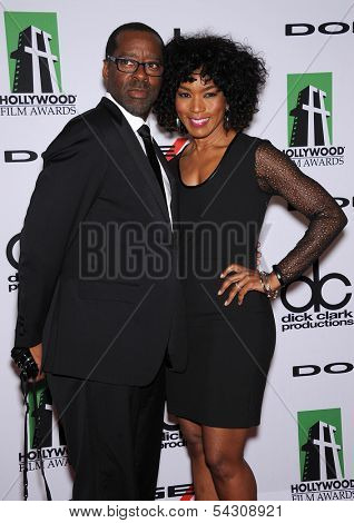LOS ANGELES - OCT 21:  Courtney B. Vance & Angela Bassett arrives to Hollywood Film Awards Gala 2013  on October 21, 2013 in Beverly Hills, CA