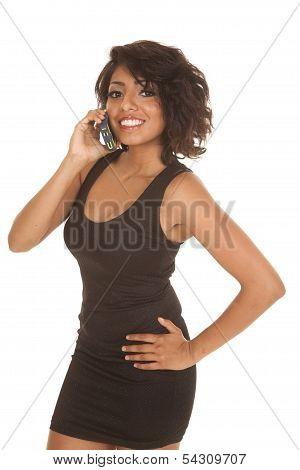 Woman Black Short Dress Phone Smile