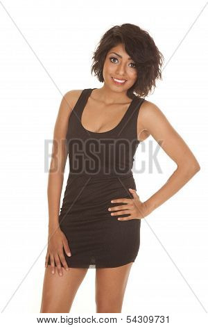 Woman Black Short Dress Smile