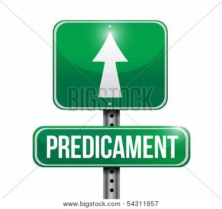 Predicament Road Sign Illustration Design