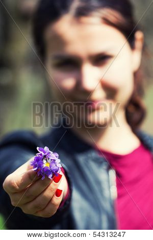 Handing Small Bouquet