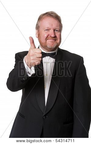 Positive Man In Tuxedo Gives Thumbs Up