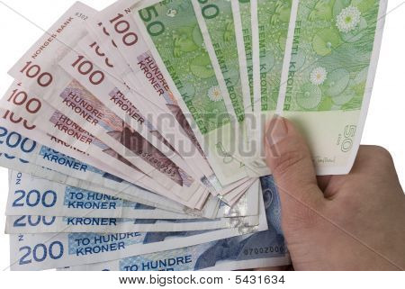 Fan Of 50, 100, 200 Nok Norwegian Crones Paper Bank Notes