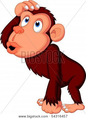 Chimpanzee cartoon thinking