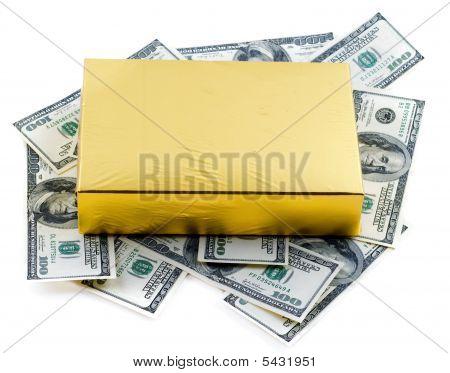 Photo Of Yellow Gift Box Over Dollars