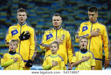 Ukraine National Football Team Players Listen The National Anthems