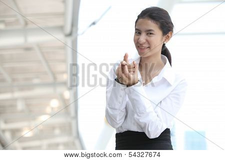 Business Woman Show Fingers