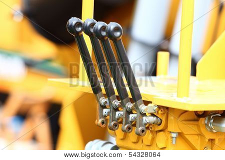 Detail Of Levers On New Tractor Industrial Detail