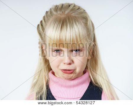 Cute Little Towhead Girl Crying