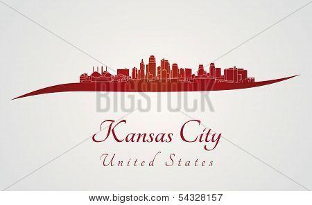 Kansas City Skyline In Red