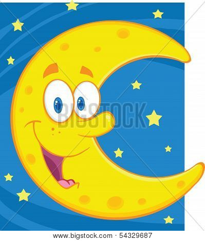 Smiling Crescent Moon Over Blue Sky With Stars