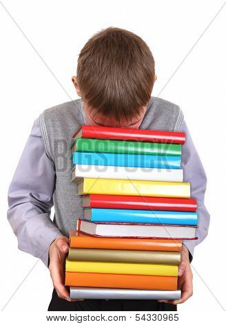 Boy Holding Pile Of The Books