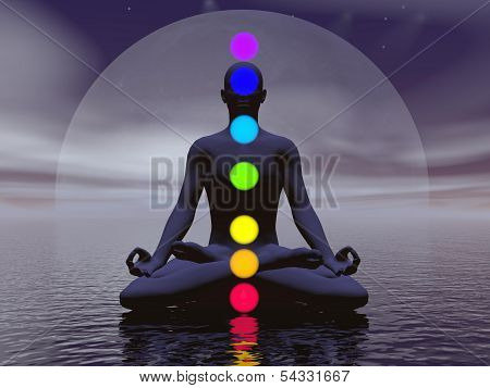 Chakras at night- 3D render