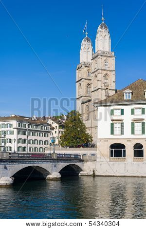 Grossmuenster In Zurich In Summer