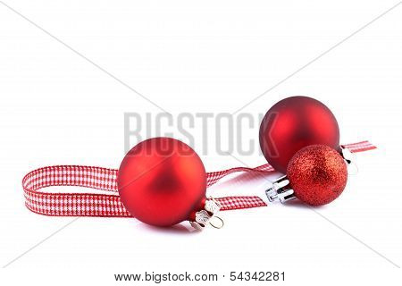 christmas red balls isolated on white