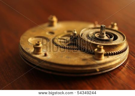 Brass Watch Clock Part With Spring And Gear