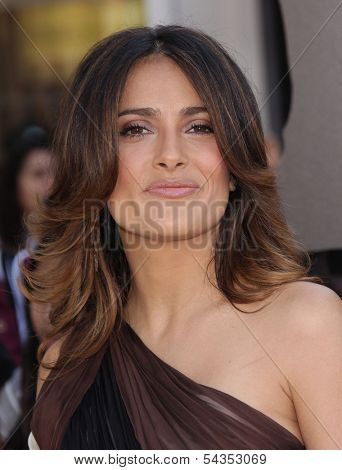 """LOS ANGELES - OCT 22:  SALMA HAYEK arrives to the """"Puss In Boots"""" Los Angeles Premiere  on October 22, 2011 in Westwood, CA"""