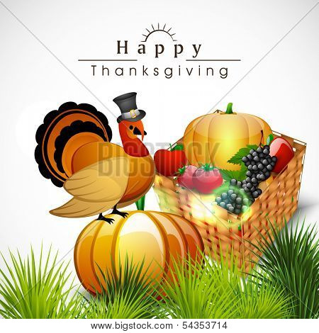 Happy Thanksgiving Day celebration concept with wooden basket full of fruits and vegetables and turkey bird, can be use as flyer, banner or poster.