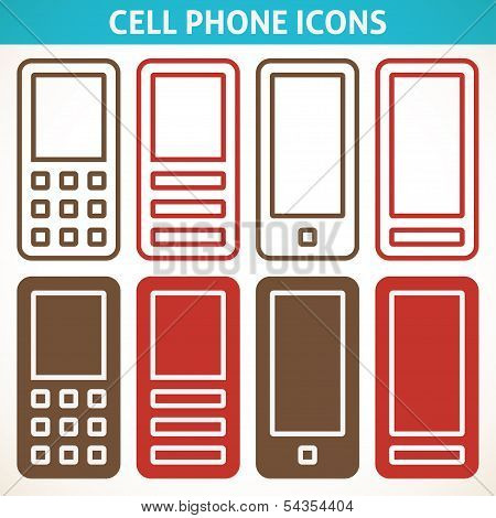 Cellphone and smartphone abstract icons