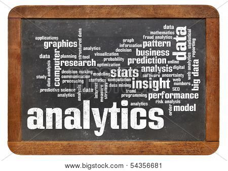 cloud of words or tags related to analytics and data analysis on a  vintage slate blackboard isolated on white