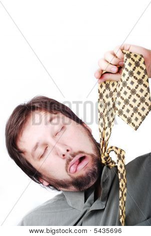 Man Is Trying To Hang Up Himself