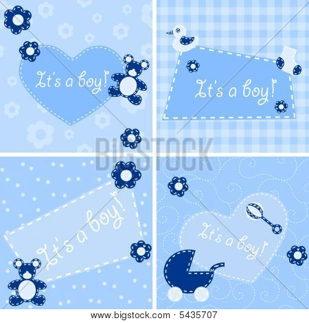 Quilted Birth Announcement Cards For A Boy