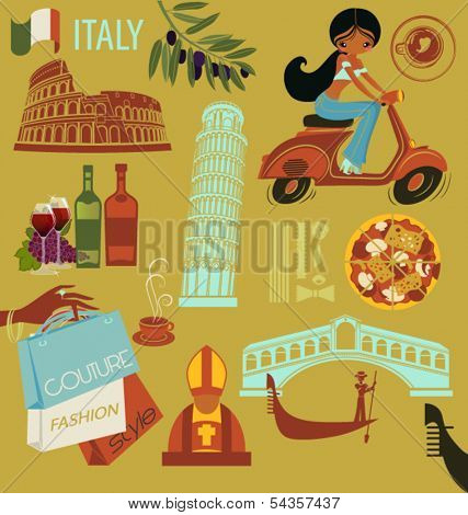 Italy Landmarks, Symbols and Icons - Set of Italy-themed design elements, including landmarks such as Colosseum, Rialto Bridge, and icons like gondolier, pasta, pope and Italian girl on scooter