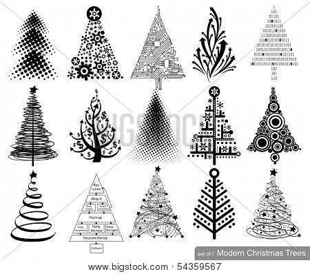 Set of Modern hi-tech Christmas Trees. 15 designs in one file.