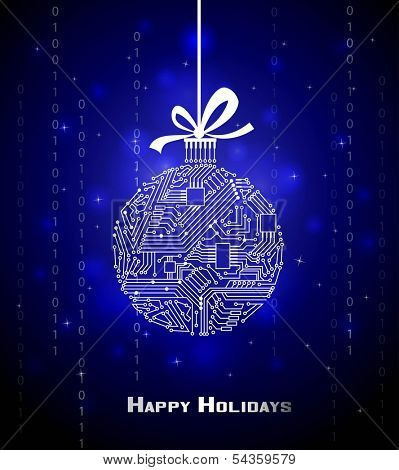 Hi-tech Christmas ball on blue background, from a digital electronic circuit