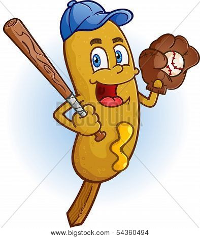 Corn Dog Baseball Cartoon Character