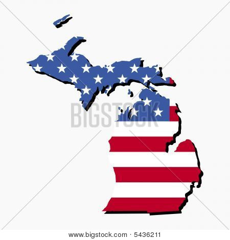 Michigan Map Flag