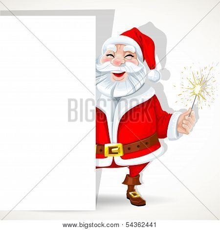 Cute Santa Claus hold big banner and sparkler