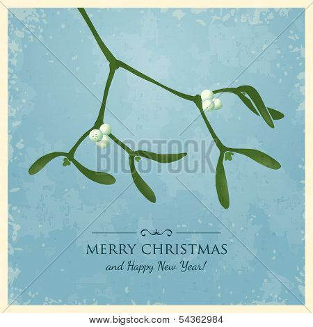 Christmas Greeting Card with Mistletoe