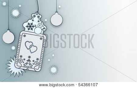 Blue Xmas Coupon With Two Hearts Symbol