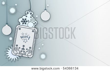 Blue Xmas Coupon With Win Symbol