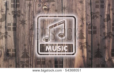 Wooden Music Symbol With Presents