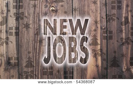 Wooden New Jobs Symbol With Presents